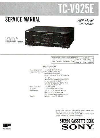 sony stereo cassette deck service manual